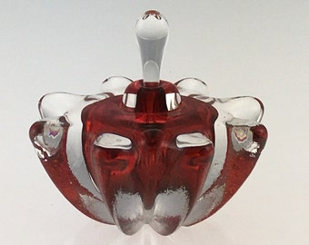 Hand Blown Glass Perfume Bottle - Red Optic  by Jonathan Winfisky