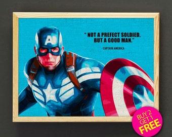 Captain America Print, Avengers Print, Superhero Print, Movie Poster, Quotes Wall Art, Home Decor, Kids Decor, Gift - FREE SHIPPING - 150s2g