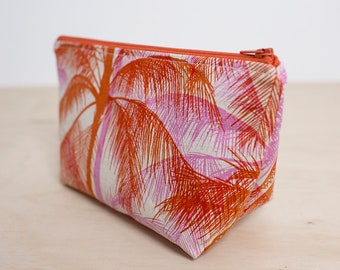 Tropical Makeup bag. Zipper pouch. Small cosmetic case. Toiletry bag. Pencil case. Pink and red. Wet pouch. Make up pouch. Zipper purse.
