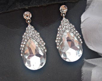 Bridal chandelier earrings wedding earrings bridal dangle earrings rhinestone earrings bridal silver earrings wedding earring bridal jewelry