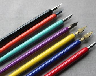 Calligraphy straight nib pen holder. Bright wood finish. Elegant dip pen holder. Modern calligraphy nib holder.