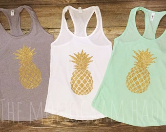 Pineapple Tank / Racer back Tank / Beach Wear / Vacation Wear / Muscle Tee / Gold Glitter / Racerback / Bridesmaids Gift Set / Maid of Honor