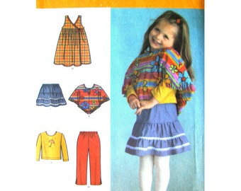 Girls Poncho, Jumper Dress, Top, Tiered Skirt Pants Pattern Simplicity 4437 Toddler Girls Size 1/2 1 2 3 4 Sewing Pattern UNCUT