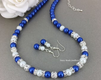 Royal Blue and White Necklace Pearl Necklace Bridesmaids Gift Bridesmaid Jewelry Royal Blue and Ivory Maid of Honor Gift