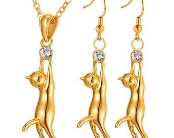 Hanging Cat Charm Rhinestone Necklace And Earrings Set Platinum Gold Plated Women