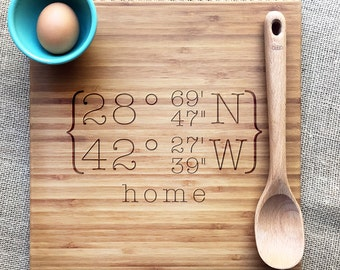 engraved coordinate cutting board, personalized bamboo cutting board, personalized housewarming gift, engraved bamboo