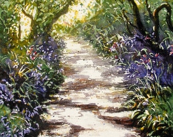 A Greetings Card. The Bluebell Tunnel. Blank inside. Pack of X 3 of any Cards Pick and Mix from x 30 different cards.