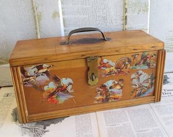 Handmade Vintage Wooden Tool / Tackle Box