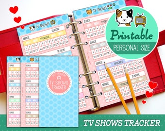 PRINTABLE Personal Size TV Shows Tracker Cute Kawaii Kitty for Filofax Kikki.K Louis Vuitton Organizer Planner Instant Download