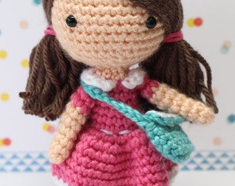 Crochet Amigurumi Cute Girl Candy Dolls PDF Pattern Stuffed Toy Gift Kawaii pink dress handbag