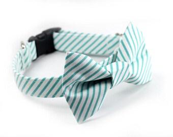 Bias Stripe Bow Tie Collar, Wedding Dog Collar, Dog Bow Tie - Thin Mint
