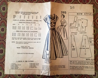 Star 295 - Dress with Vestee/Crossover Bodice & Full Skirt, Size 16/Bust 34, Hard to find, factory-folded sewing pattern