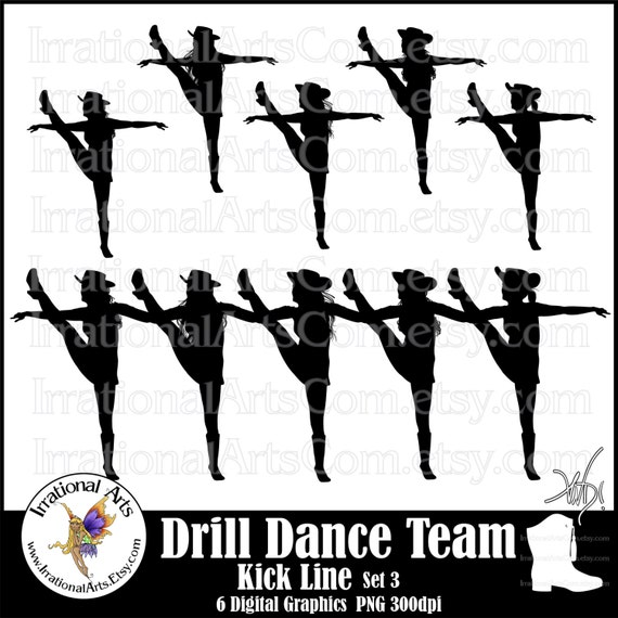 drill dance team kick line silhouettes set 3 6 png digital rh etsy com drill team clipart free drill team boot and hat clipart