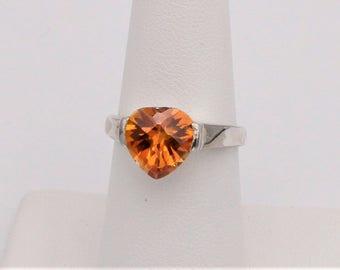 Sterling Silver Golden Crystal Heart Ring