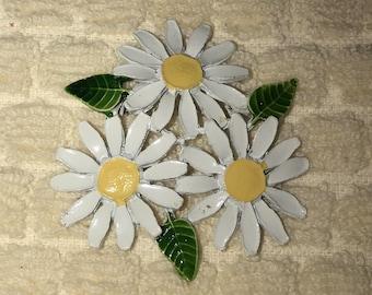 Enamel On Metal Triple Daisy Flower Power Brooch