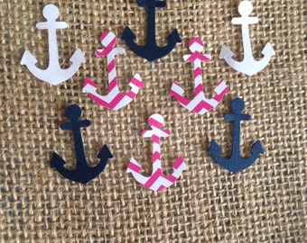 Anchor Confetti Navy, hot pink and white, Envelope confetti