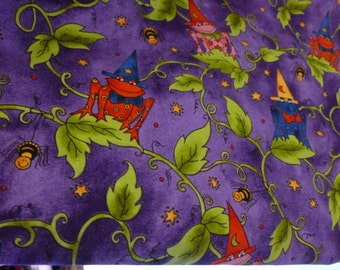 Frog Fabric~KD Kids & Co Kari Pearson Fabric~1 Yard Piece~Whimsical Quilt Fabric~Cotton Fabric~~Halloween Frog Fabric~SSI Fabric~Kids Fabric
