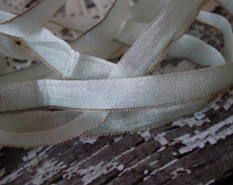 Antique Silk Metallic Rare ribbon from 1900s-1920s, palest blue ombre, New Old Stock, half yard