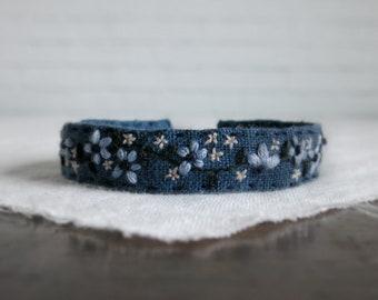 Blue Flower Bracelet, Floral Bracelet, Embroidered Bracelet, Cuff Bracelet
