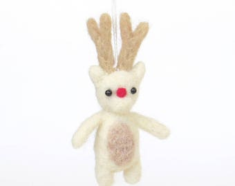 Felt miniature Christmas ornament : needle felted Rudolph reindeer - white deer with a red nose, small gift, animal charm