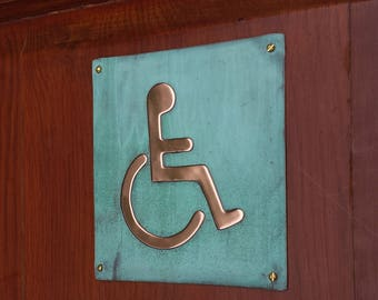 "Wheelchair user disabled toilet lavatory sign Plaque 4.5""""/115mm square in polished and patinated copper sheet with fixings g"
