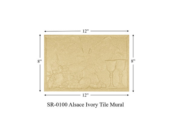 12 by 8 Listello Tile Mural Alsace Ivory