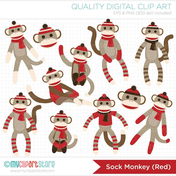 clipart sock monkey red digital clip art instant rh etsy com Colorful Sock Monkey Clip Art Colorful Sock Monkey Clip Art