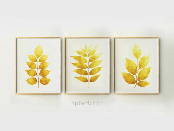 Set of 3 Wall Decor Home Print Set Yellow Plant Art Modern
