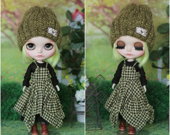 BOHO-style outfit with hat for Neo Blythe doll 1/6 size