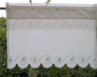 Breeze-view(-sight) curtain or tier Lopez and Richelieu embroidery made by hand