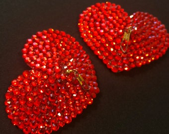 Red Heart Rhinestone Burlesque Pasties with Tassel Hook - 2.5""