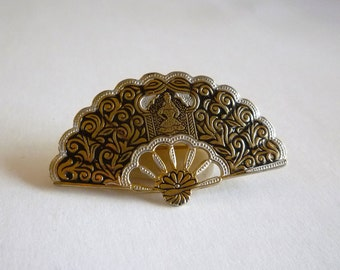 Vintage Damascene Fan Brooch signed Spain
