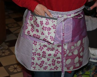 Purple coated canvas floral waitress apron