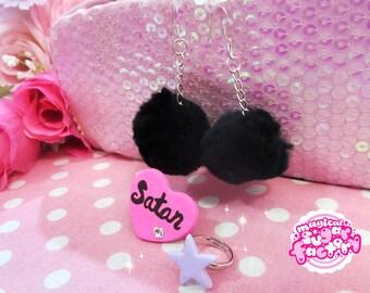 Cute Pastel Goth Pompon Jewelry Set