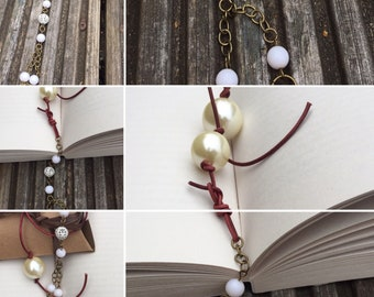 Beaded bookmark, Handmade Bookmark, Books, Thong Bookmark, Literature Gift, Book lover gift, K Brown