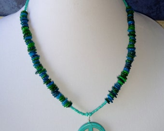 Turquoise Peace Sign Necklace Blue Green Shell Beads Handmade Howlite Peace Sign