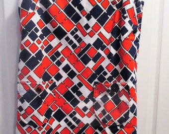 1970's Pique Sleeveless Shift Dress Geometric Red White Blue Button Down Side Opening