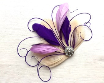 CICILY Ivory, Purple, and Lavender Peacock Feather Hair Clip, Feather Fascinator