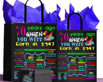 70th Birthday Gift Bag ,1948 A perfect way to turn the past into a Present! Retro Nostalgic,Anniversary,Retirement