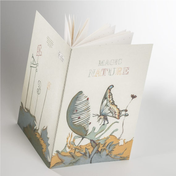 MAGIC NATURE NOTEBOOK. Dotted pages notebook. Butterfly. Nature inspired. For calligraphers. Gift for her. Gift for teacher.