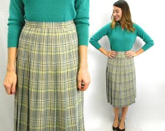 50s Gray Pleated Skirt   Plaid Pleated Skirt   Medium