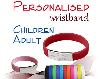 Personalised Metal/Silicone Wristband * Adult * Children * Name * Text * Logo * Blood