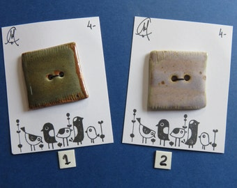 Square Ceramic Buttons - Handmade - Craftwork - Pottery