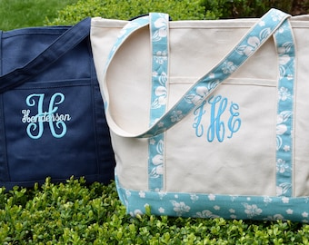 Large Natural Canvas Tote Bag - Personalized with Instagram Name - Monogram - Perfect Dog Bag // Gift by Three Spoiled Dogs
