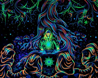 """Psy Вackdrop """"Endless Glade"""" UV  blacklight active fluorescent psychedelic tapestry wall hanging decoration goa party visual art"""
