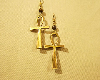 "Egyptian Ankh gold tone earrings with semi precious stone that you choose. 3.25"" or 8.5cm long x 1.25"" or 3cm"