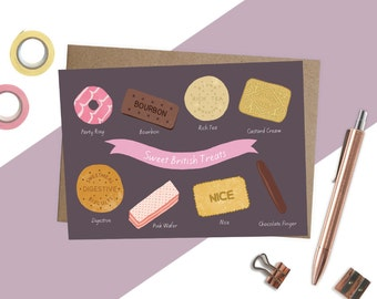 Illustrated Biscuits Card, British Biscuits, Sweet Treats Card, Biscuit lovers birthday card, Cute birthday card, Food lover card, sweet art