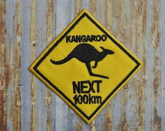 Australia Road Sign Kangaroo Next 100km Aussie Iron On Or Sew On Patch