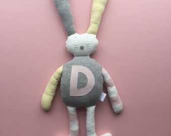 Personalised gift bunny rabbit soft toy cuddly toy handmade gift baby gift baby shower gift newborn gift baby girl pink grey yellow ivory
