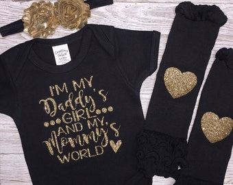 Baby Girl Clothing   I'm My Daddys Girl and My Mommys World   Girl Clothes   Baby Shower   Take Home Outfit   Glitter Bodysuit